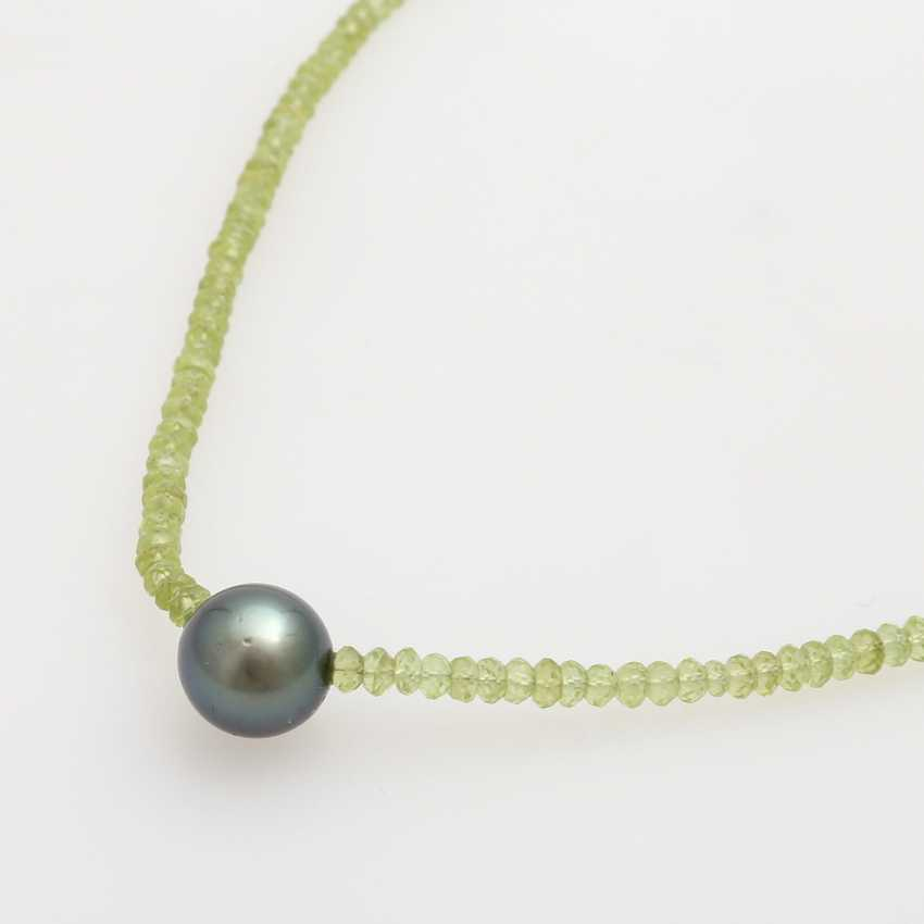 Necklace made from fac. Peridot, in the middle, 1 Tahitian pearl - photo 4