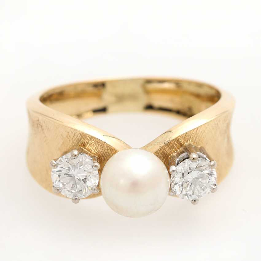 Ladies ring with 1 Akoya cultured pearl - photo 1