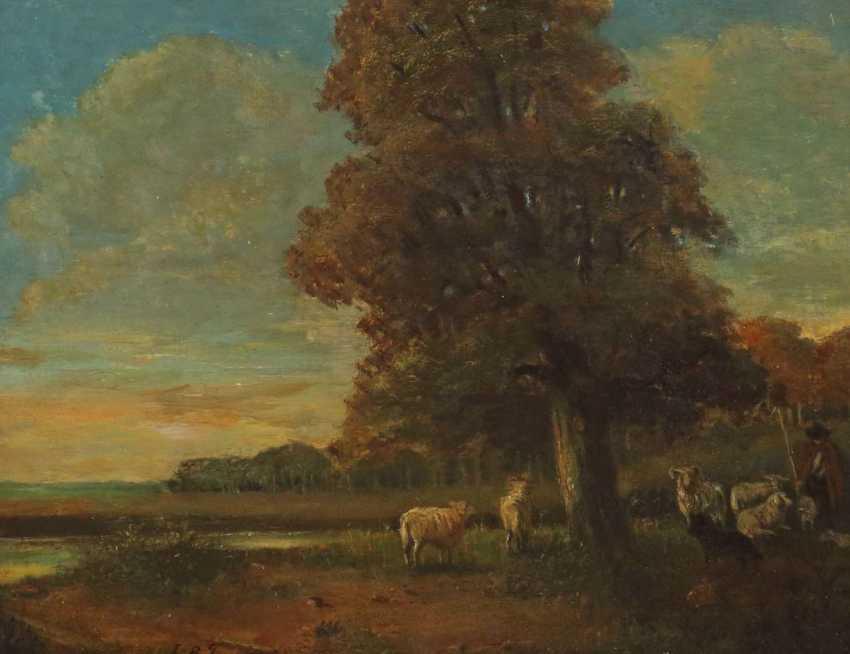 Maler des 19. Jahrhundert ''Schäfer mit seiner Herde'' - photo 1