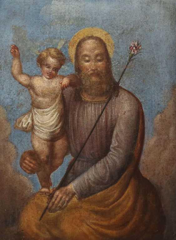 Maler des 19. Jahrhundert ''Gottvater mit dem Jesusknaben'' in den Wolken schwebend - photo 1
