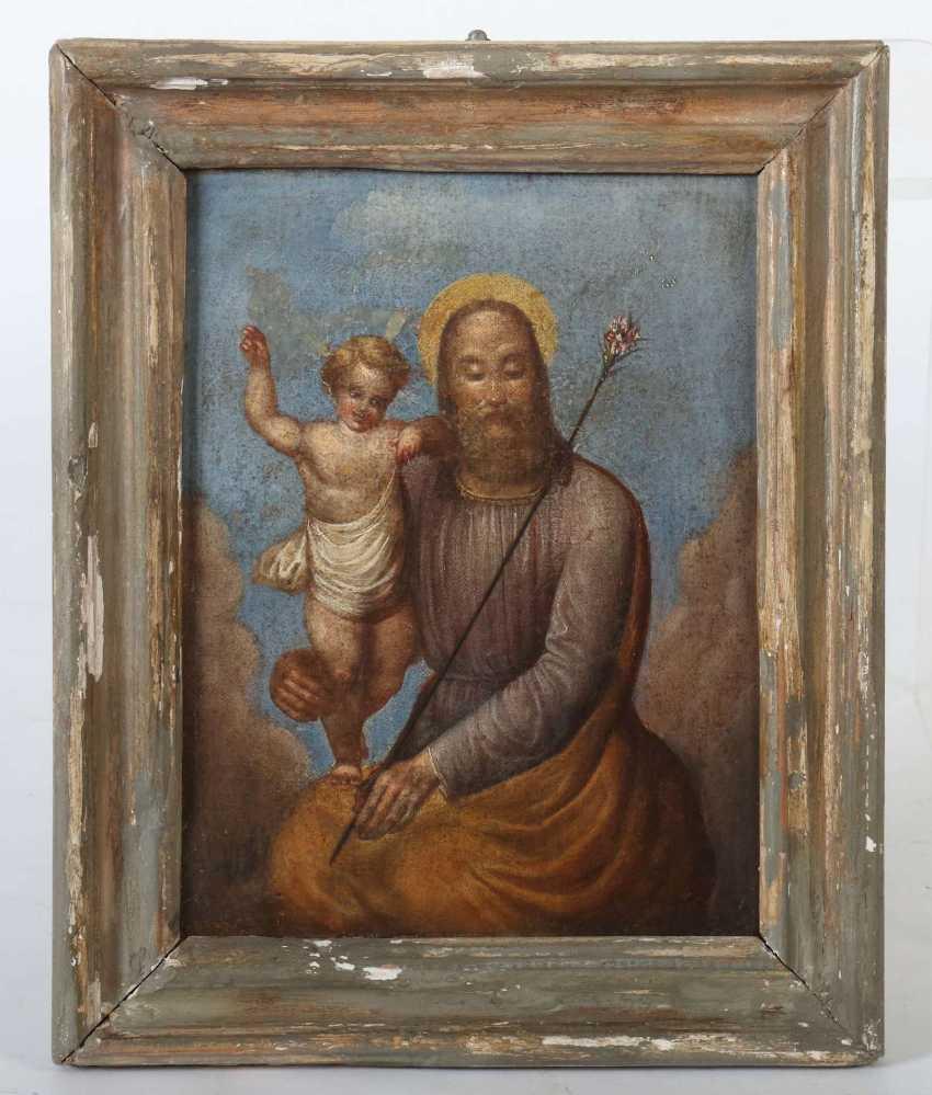 Maler des 19. Jahrhundert ''Gottvater mit dem Jesusknaben'' in den Wolken schwebend - photo 2