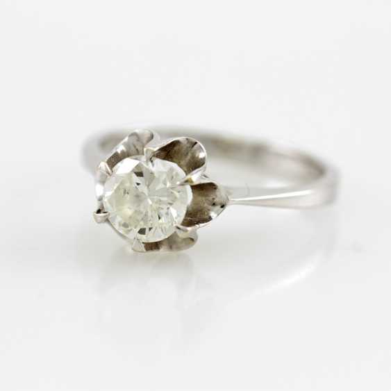 Ladies ring white gold 14 K with 1 Brilliant approx 0,94 ct, White / pique. - photo 1