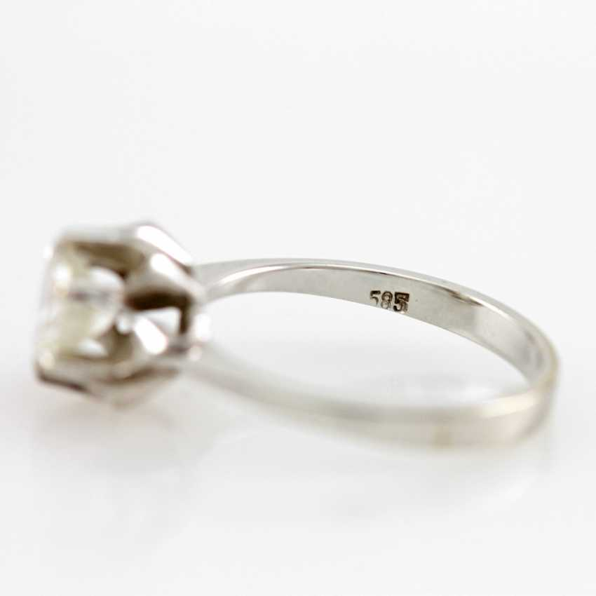 Ladies ring white gold 14 K with 1 Brilliant approx 0,94 ct, White / pique. - photo 3