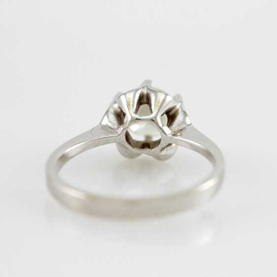 Ladies ring white gold 14 K with 1 Brilliant approx 0,94 ct, White / pique. - photo 5