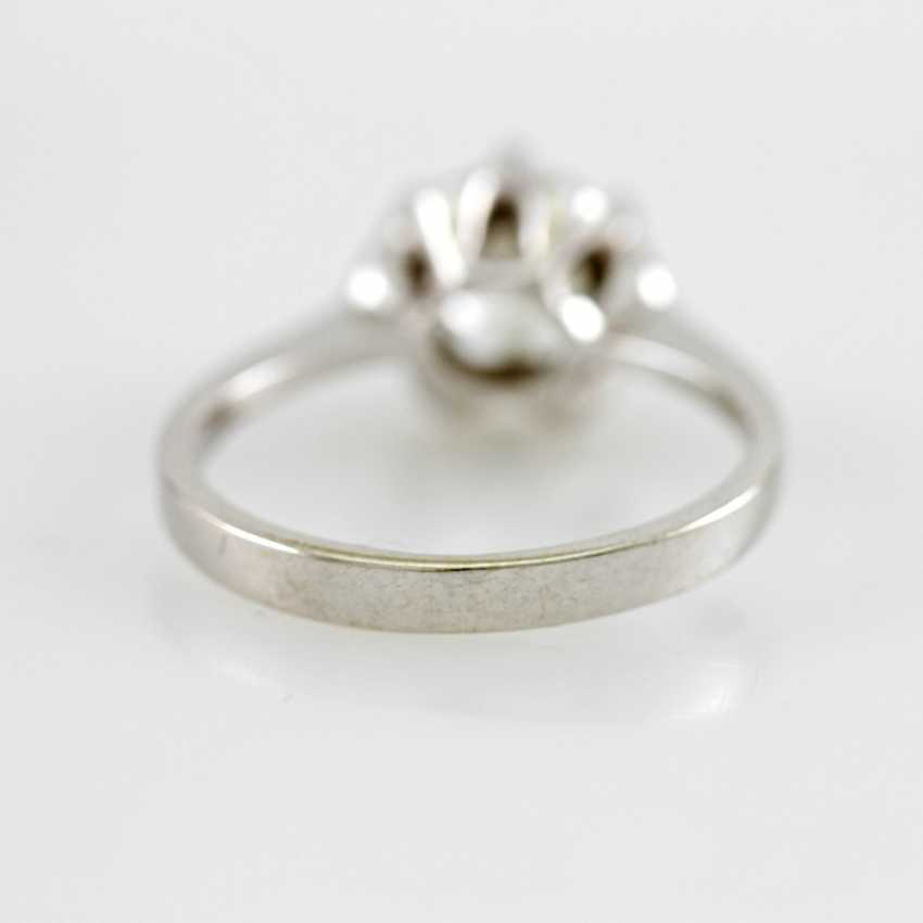 Ladies ring white gold 14 K with 1 Brilliant approx 0,94 ct, White / pique. - photo 6