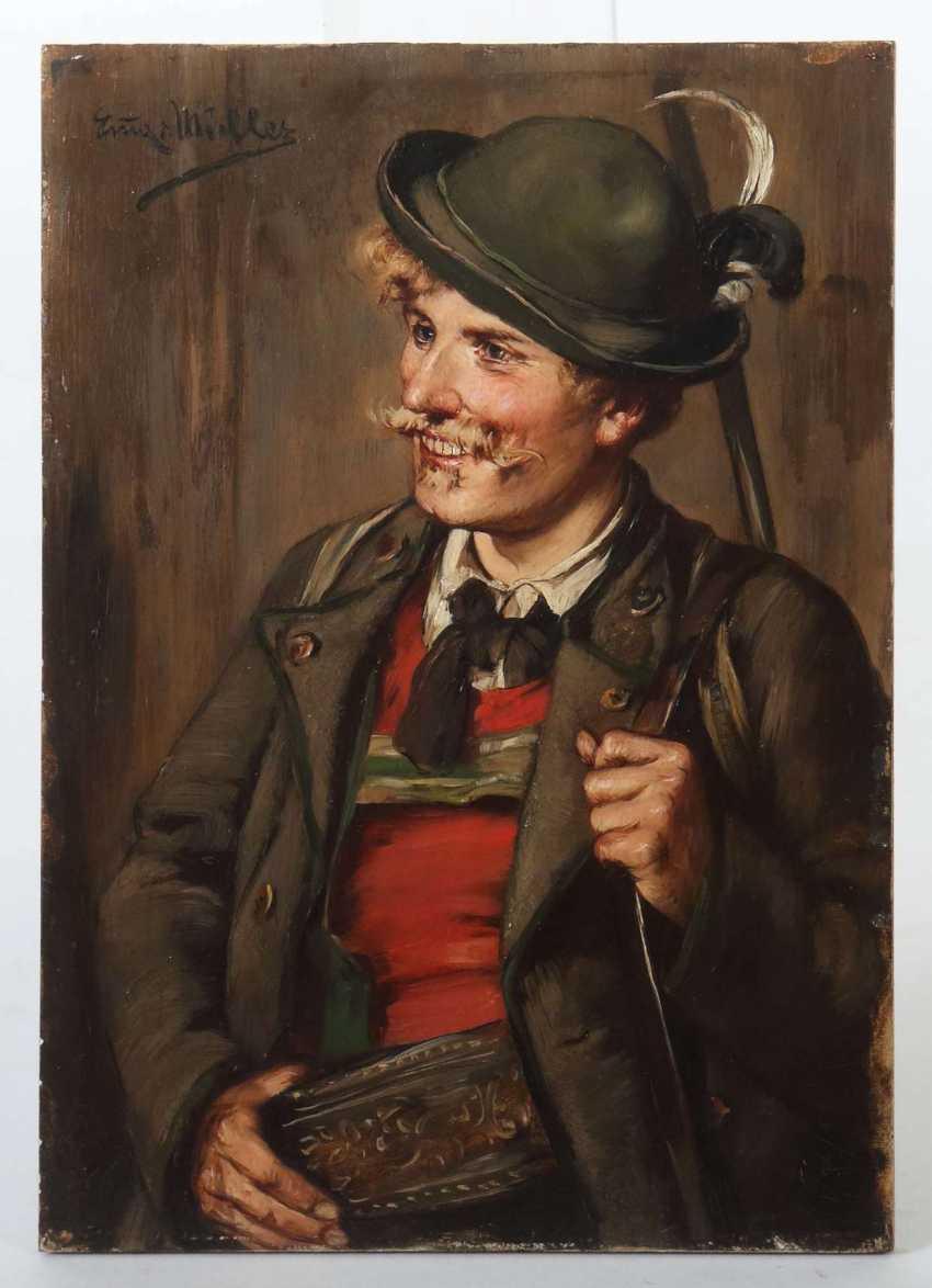Müller, Emma von (Emma Müller, Edle von Seehof), Innsbruck 1859 - 1925 München, Genre- und Portraitmalerin in München, Defregger-Schülerin. ''Portrait eines Jägers'' - photo 2