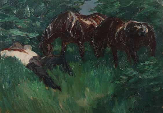 Dill, Otto Neustadt an der Hardt 1884 - 1957 Bad Dürkheim, Tier- und Landschaftsmaler, Zeichner und Lithograph, Zügel-Schüler, Prof.. ''Ruhender Pferdeknecht'' - photo 1