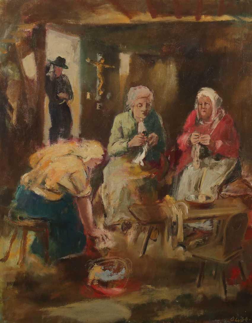 Luick, Otto Ernst Esslingen 1905 - 1984 ebenda, Maler in Esslingen, Stud. an der Akad. Stuttgart bei Waldschmidt, Altherr und Kolig. ''Frau bei der Handarbeit'' - photo 1