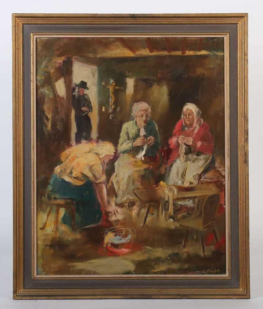 Luick, Otto Ernst Esslingen 1905 - 1984 ebenda, Maler in Esslingen, Stud. an der Akad. Stuttgart bei Waldschmidt, Altherr und Kolig. ''Frau bei der Handarbeit'' - photo 2