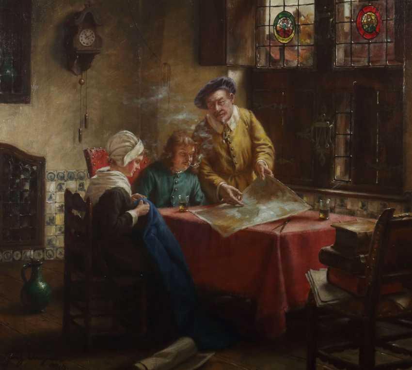 Wagner, Fritz München 1896 - 1939 ebenda, war Maler in Frauenchiemsee. ''Tischgesellschaft in altholländischer Stube'' - photo 1