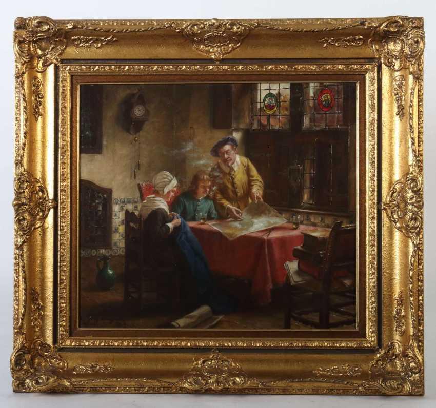 Wagner, Fritz München 1896 - 1939 ebenda, war Maler in Frauenchiemsee. ''Tischgesellschaft in altholländischer Stube'' - photo 2