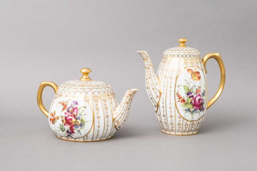 C. M. BAUER&PFEIFFER Schorndorf coffee-tea service f. 5 persons 'decor Ludwigsburg', brands of 1904-1918. - photo 2