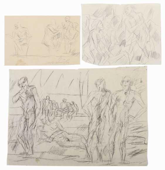 Henninger, Manfred Backnang 1894 - 1986 Stuttgart, Prof .. Convolute of figurative representations: 3-part: 1x '' Male nudes '' - photo 1