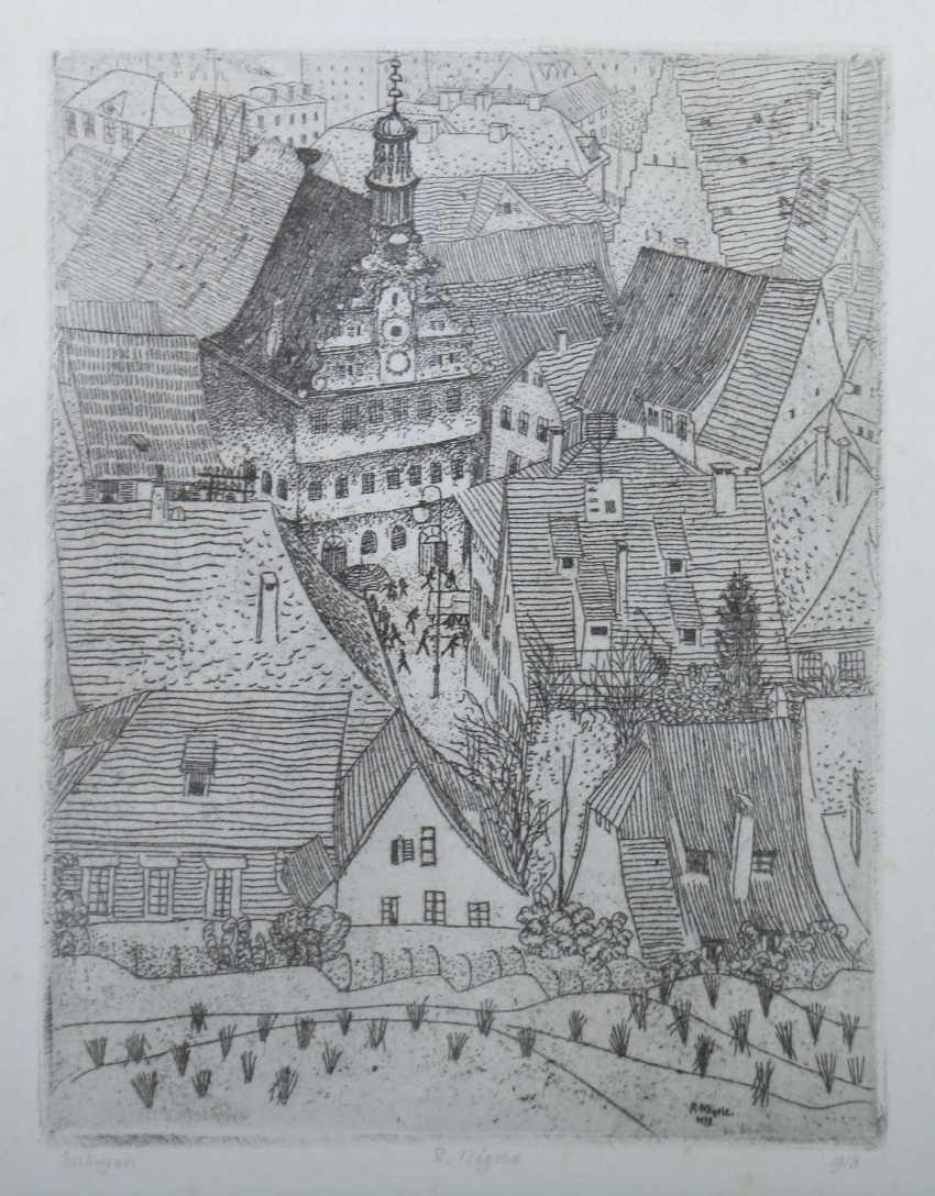 Nägele, Reinhold Murrhardt 1884 - 1972 Stuttgart, Stud. In Munich, Paris and Holland, painter and graphic artist in Stuttgart, co-founder of the Stuttgart Secession, Prof. '' Esslinger Dächer '' - photo 1