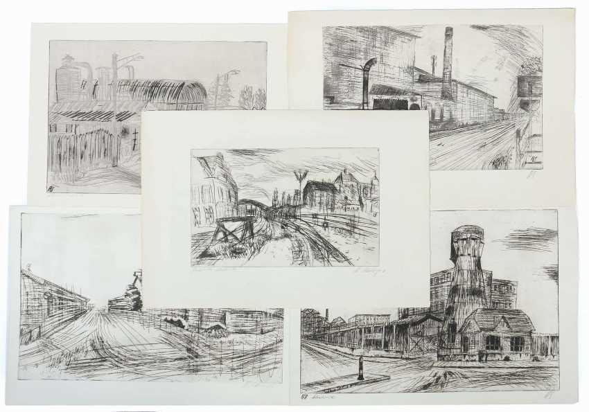 Silberberger, Adolf Stuttgart 1922 - 2005 ibid, painter and graphic artist, studied at the Stuttgart Academy with Baumeister, Gollwitzer, Meid and Henninger. 5 etchings - photo 1