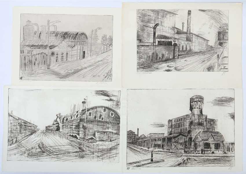 Silberberger, Adolf Stuttgart 1922 - 2005 ibid, painter and graphic artist, studied at the Stuttgart Academy with Baumeister, Gollwitzer, Meid and Henninger. 5 etchings - photo 2