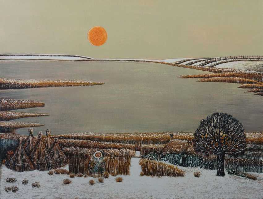 Kumpf, Gottfried b. 1930 Annaberg, Austrian painter, graphic artist and sculptor. '' Winter evening '' - photo 1