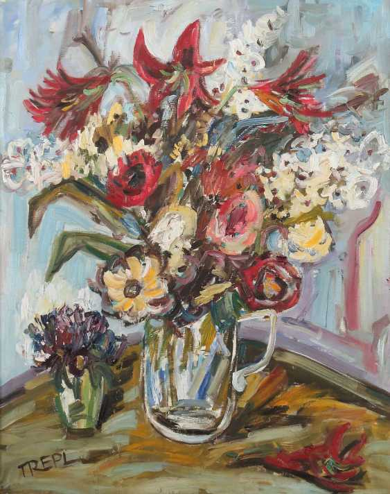 Trepl, Willi b. 1928, painter in Möhringen. ''Bunch of flowers'' - photo 1
