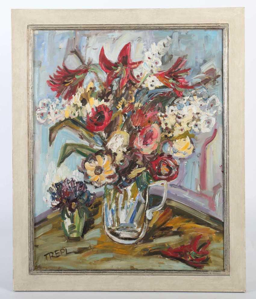 Trepl, Willi b. 1928, painter in Möhringen. ''Bunch of flowers'' - photo 2
