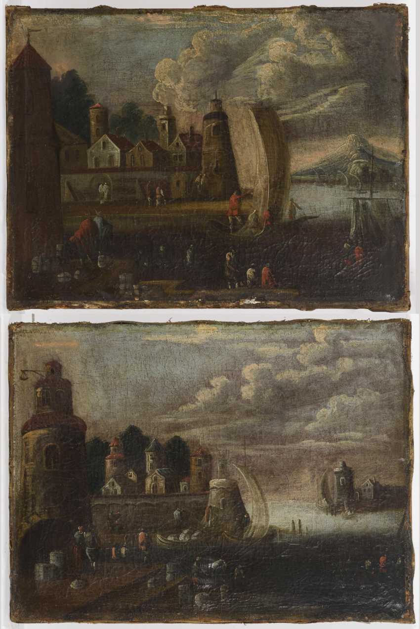 Landscape painter 18th century: Two landscapes with coastal cities - photo 1