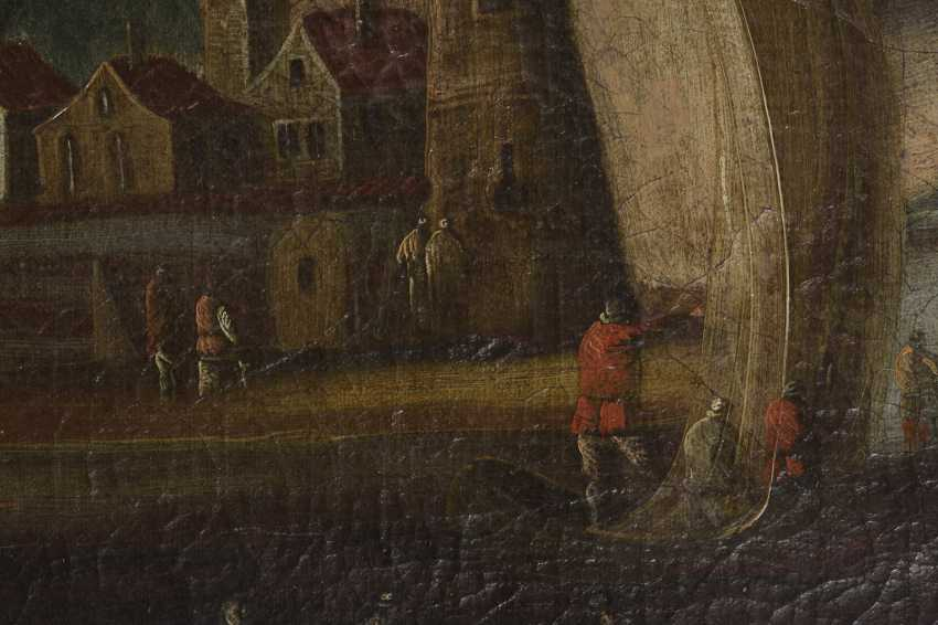Landscape painter 18th century: Two landscapes with coastal cities - photo 2