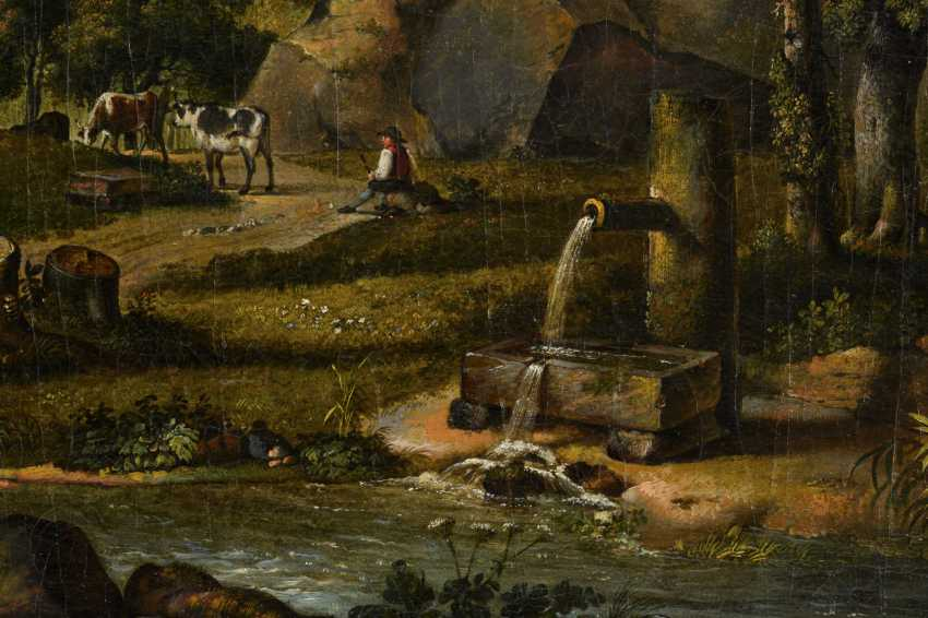 Baroque painter 18th century: lumberjack in a hilly landscape near a ruin - photo 3