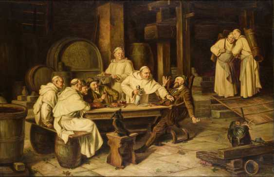 Genre scene with drinking monks in the wine cellar - photo 1