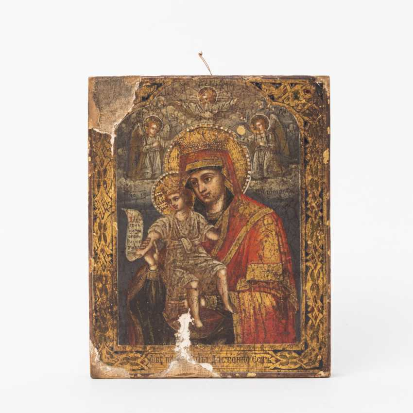 Small icon of mother of God with the child Jesus. RUSSIA, 19th century. Century - photo 1