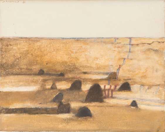 """SCHREINER, HANS (geb. In 1930, Bad friedrichshall, painter in Stuttgart), """"ocher field with hills"""", - photo 1"""