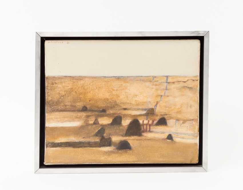 """SCHREINER, HANS (geb. In 1930, Bad friedrichshall, painter in Stuttgart), """"ocher field with hills"""", - photo 2"""