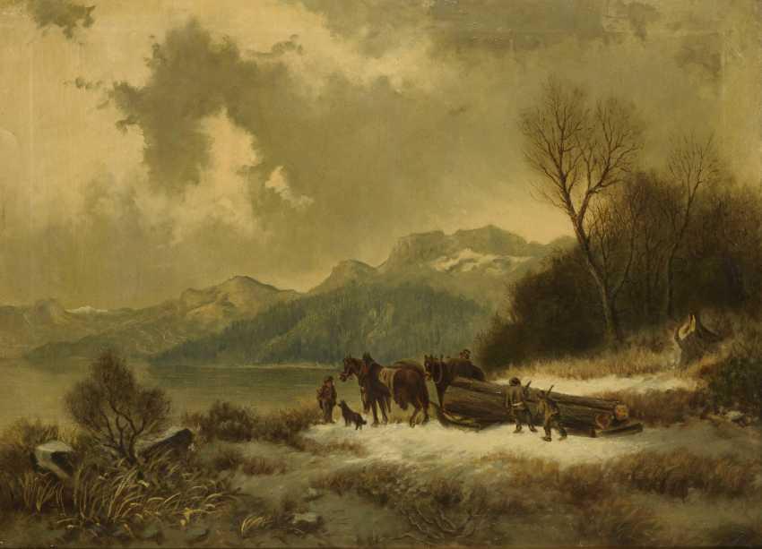 Winter landscape with lumberjacks - photo 1