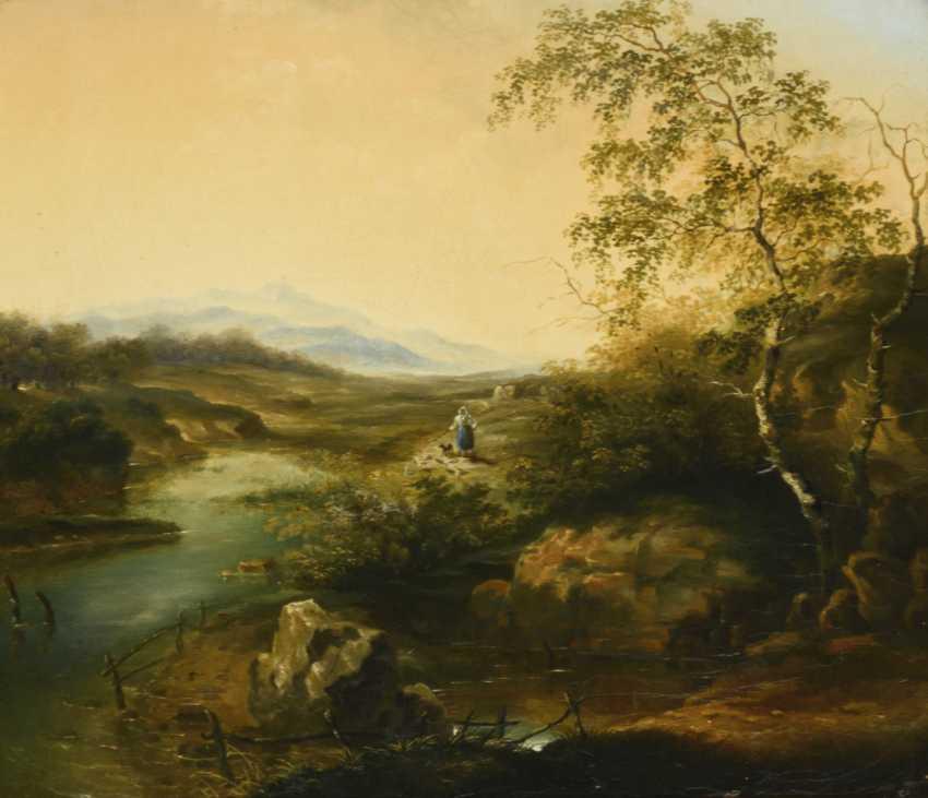 Romantic river landscape in a splendid stucco frame - photo 1