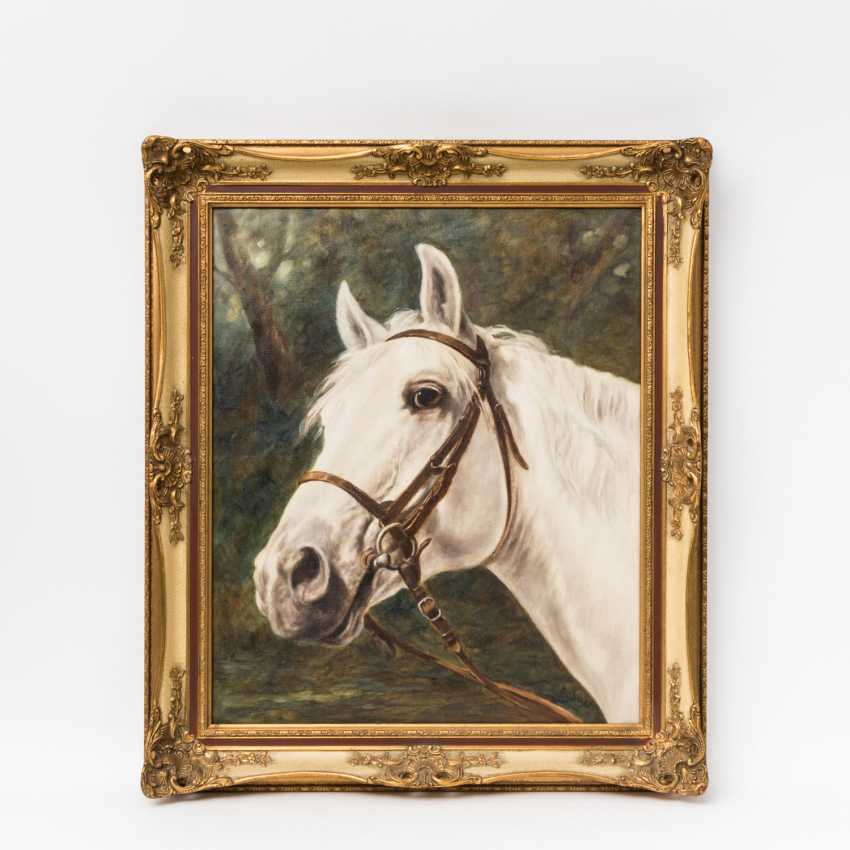 "ERHARDT (painter 20. Century), ""head of a white horse in front of the forest"", - photo 2"