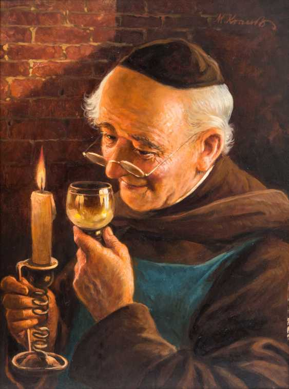 "KRAUSS, Max (1902-?)), ""Monk with a glass of wine and candle in the cellar"", - photo 1"