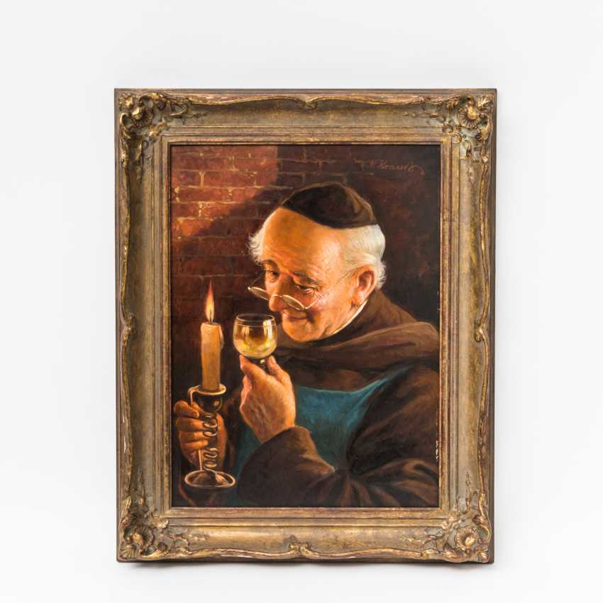 "KRAUSS, Max (1902-?)), ""Monk with a glass of wine and candle in the cellar"", - photo 2"