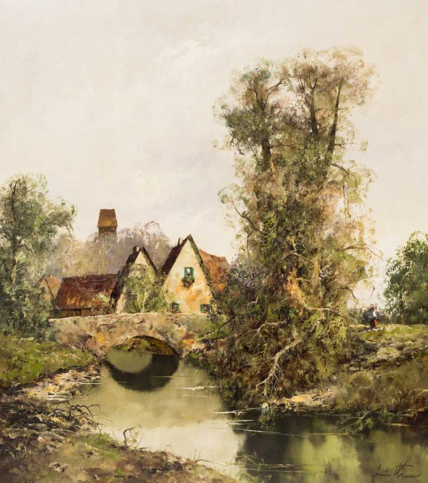 """PAINTERS of the 20th century. Century (undeutl. signed), """"river landscape with houses along a rainbow bridge, - photo 1"""