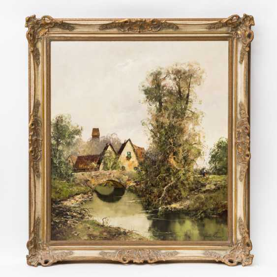 """PAINTERS of the 20th century. Century (undeutl. signed), """"river landscape with houses along a rainbow bridge, - photo 2"""