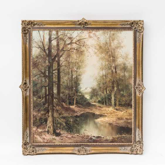 "PAINTERS of the 20th century. Century, ""pre-Alpine landscape with a pond in the birch forest"", the bottom right undeutl. signed, - photo 2"