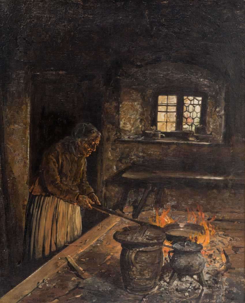 "Kotsch REITER, G. HUGO (1854-1908), ""Old woman at the stove in the kitchen"", - photo 1"