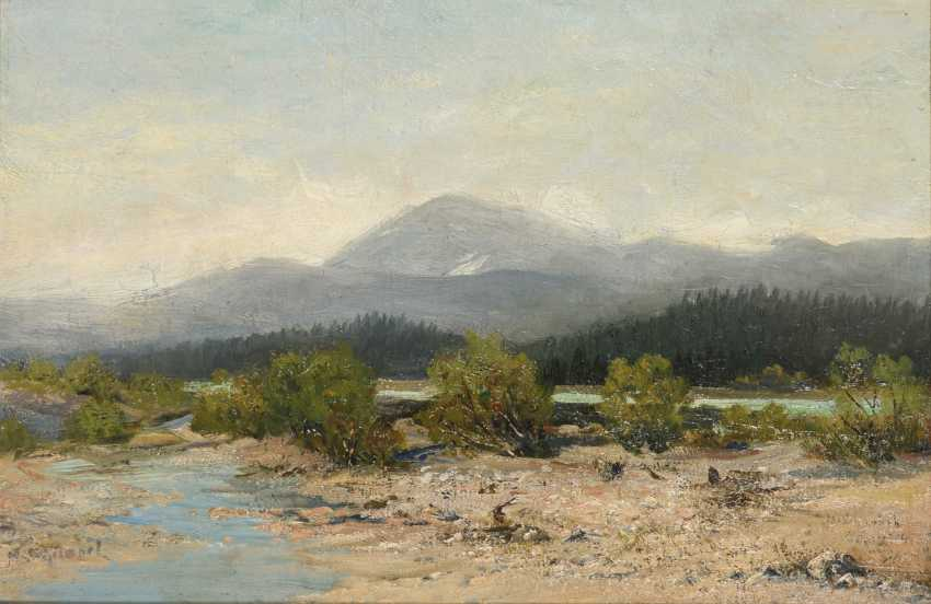 Indistinctly signed: mountain landscape with river - photo 1