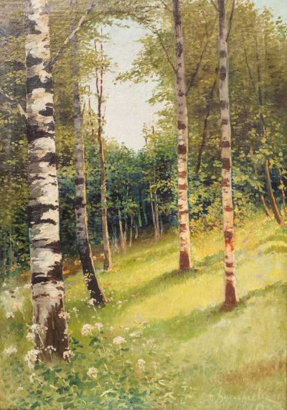 """PAINTER of the 19th century. / 20. Century, """"Summer glade in the birch forest"""", the bottom right undeutl. signed, - photo 1"""