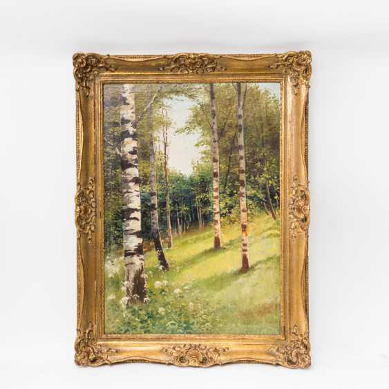"""PAINTER of the 19th century. / 20. Century, """"Summer glade in the birch forest"""", the bottom right undeutl. signed, - photo 2"""