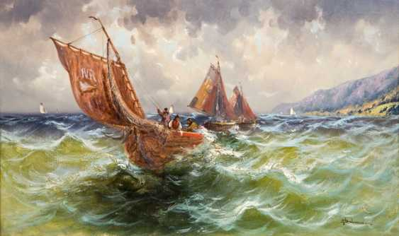 """DELMAR, WILLIAM (engl. Painter of the 19th century. Century in Canterbury, was 1823-56 in the Royal Acad. in London), """"fishing boats on the Adriatic sea"""", - photo 1"""