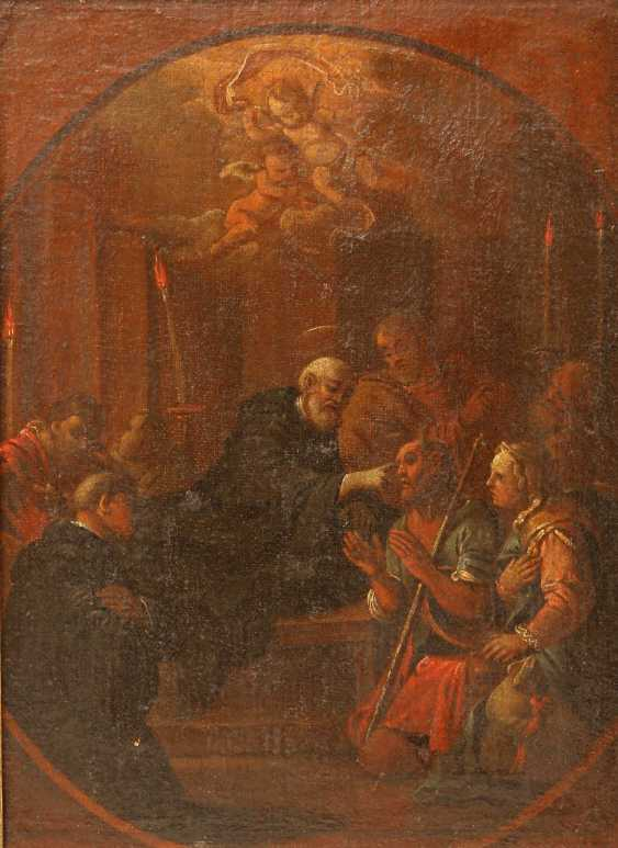 """PAINTER of the 17th century. / 18. Century, """"a Saint in a monk costume, a Blind healing"""", scene, after Tintoretto, - photo 1"""