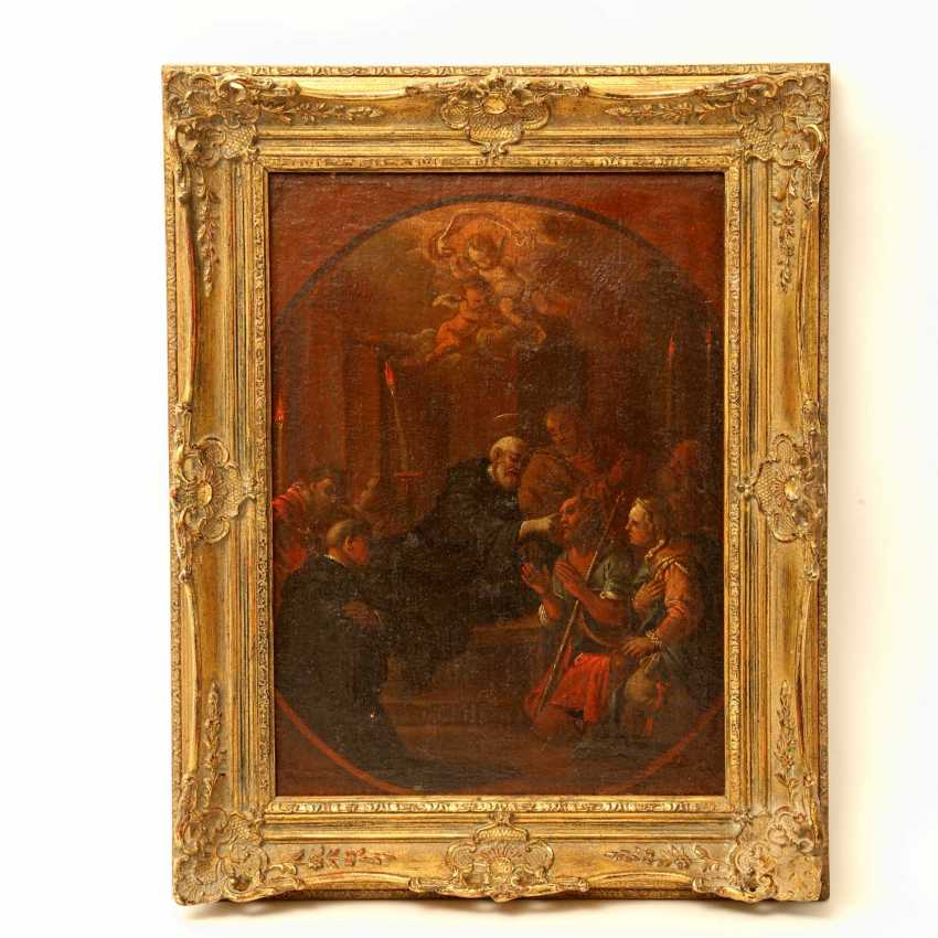 """PAINTER of the 17th century. / 18. Century, """"a Saint in a monk costume, a Blind healing"""", scene, after Tintoretto, - photo 2"""