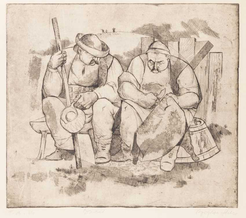 """SLAVIC ARTISTS 20. Century, """"Two peasants sitting on a bench"""", - photo 1"""
