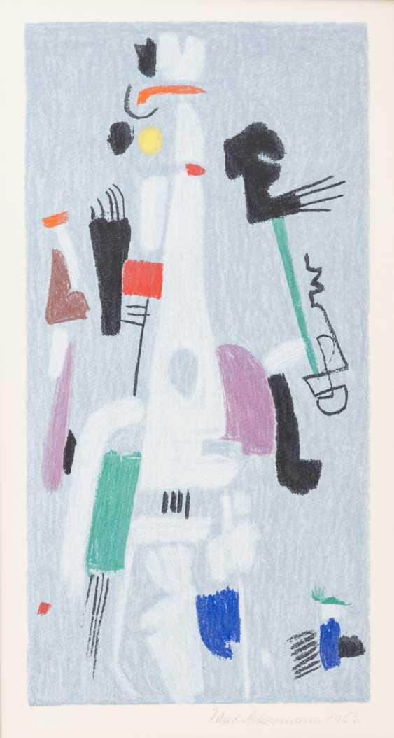 "ACKERMANN, MAX (Berlin 1887-1975 subitem tight Hardt, Prof.), ""Abstract figure composition on bright blue"", - photo 1"