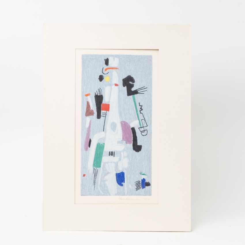 "ACKERMANN, MAX (Berlin 1887-1975 subitem tight Hardt, Prof.), ""Abstract figure composition on bright blue"", - photo 2"