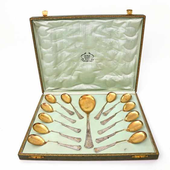 BRUCKMANN & SONS, 12 dessert spoons, a large spoon, art Nouveau, early 20's. Century - photo 1