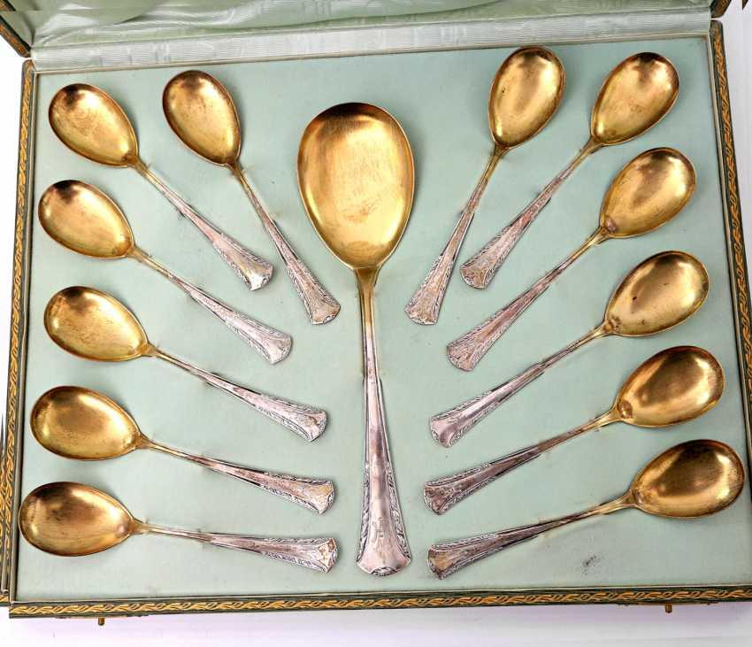 BRUCKMANN & SONS, 12 dessert spoons, a large spoon, art Nouveau, early 20's. Century - photo 2